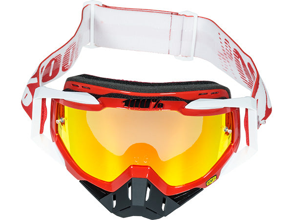 100% Racecraft Goggles-Fire Red-Mirrored Red Lens  - J&R Bicycles BMX Super Store