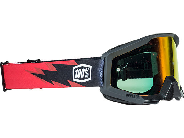 100% Strata Moto Goggles-Slash-With Mirrored Red Lens  - J&R Bicycles BMX Super Store
