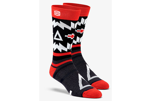 100% Athletic Socks-Jeronimo-Black/Red  - J&R Bicycles BMX Super Store