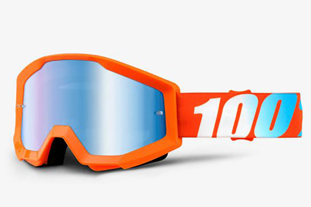 100% Strata Goggles-Orange-Mirror Blue Lens  - J&R Bicycles BMX Super Store