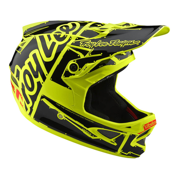 Troy Lee D3 Fiberlite Helmet - Factory - Flo Yellow