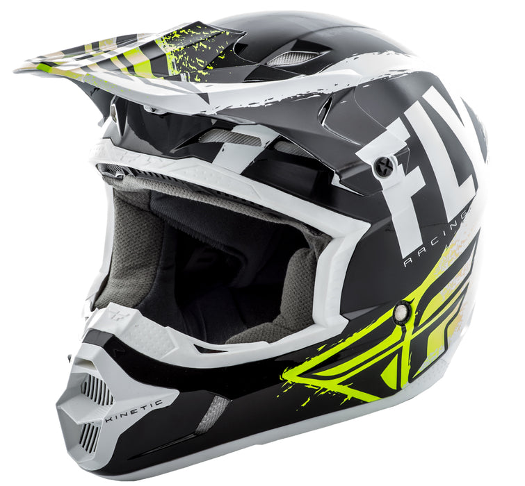 Fly Racing 2018 Kinetic Burnish Helmet - Black/White/Hi-Vis