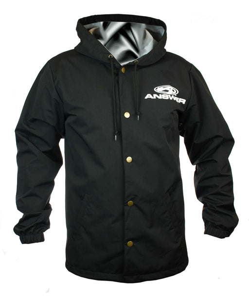 Answer Windbreaker Hooded Button-Up-Black