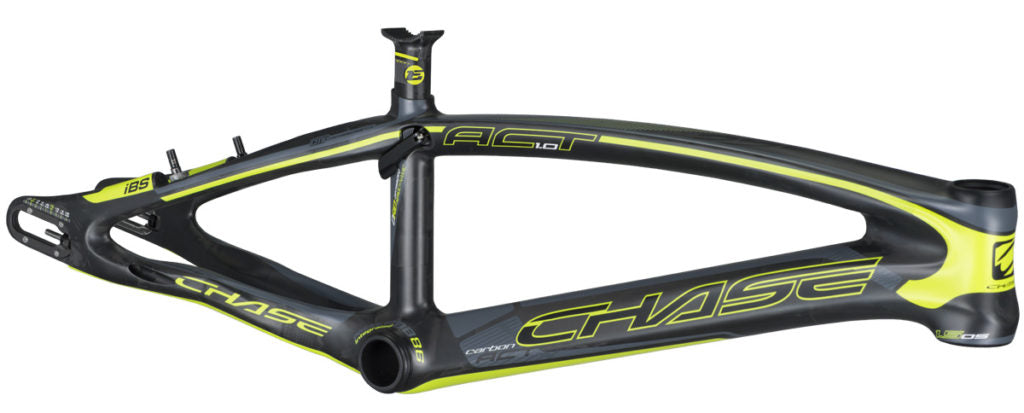 Chase Act 1.0 Carbon BMX Race Frame-Matte Black/Neon Yellow