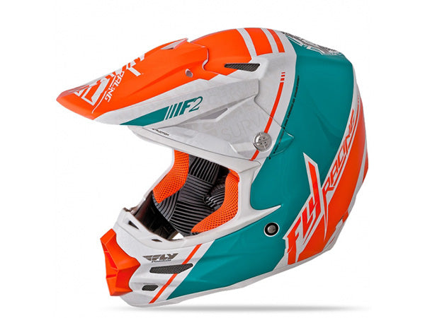 FLY Racing F2 Carbon Canard Helmet | WHITE/TEAL/ORANGE