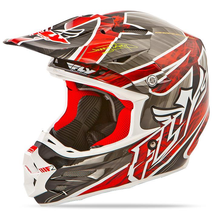 Fly Racing F2 Carbon Acetylene Helmet - White/Red at J&R Cycles