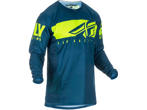 Fly Racing 2019 Kinetic Shield Jersey-Navy/Hi-Vis Front View