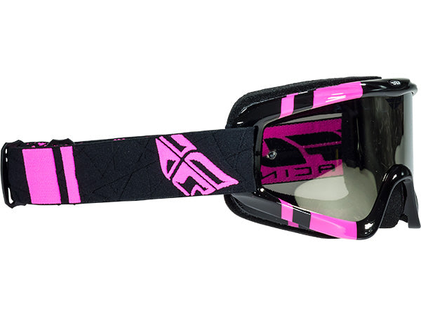 Fly Racing Zone Goggle-Adult-Black/Pink-Chrome/Smoke Lens