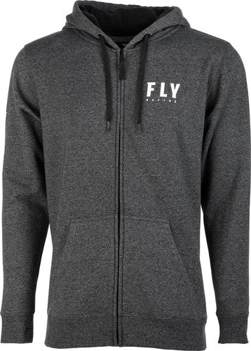 Fly Racing Zip Up Hoodie-Charcoal