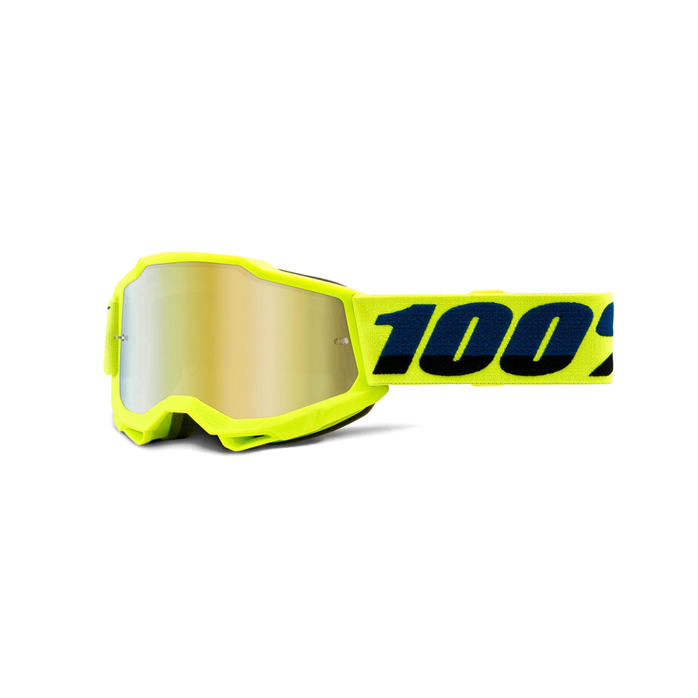 100% Accuri2 Youth Goggles-Fluorescent Yellow-Mirror Gold Lens