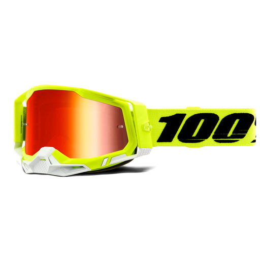 100% Racecraft2 Goggles-Fluorescent Yellow-Mirror Red Lens