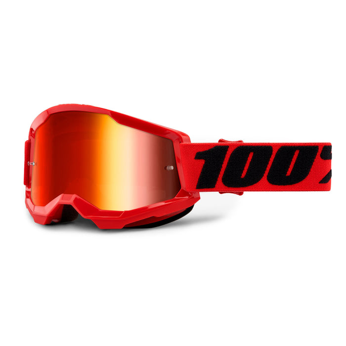 100% Strata2 Goggles-Red-Mirror Red Lens