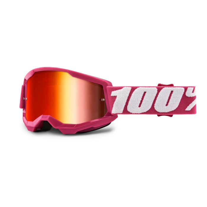 100% Strata2 Youth Goggles-Fletcher-Mirror Red Lens