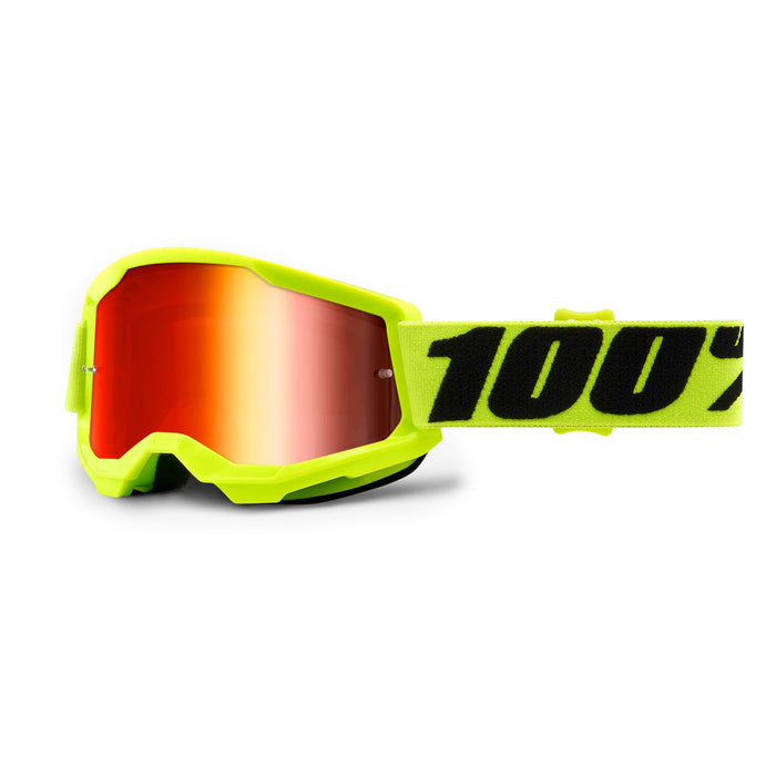 100% Strata2 Youth Goggles-Yellow-Mirror Red Lens