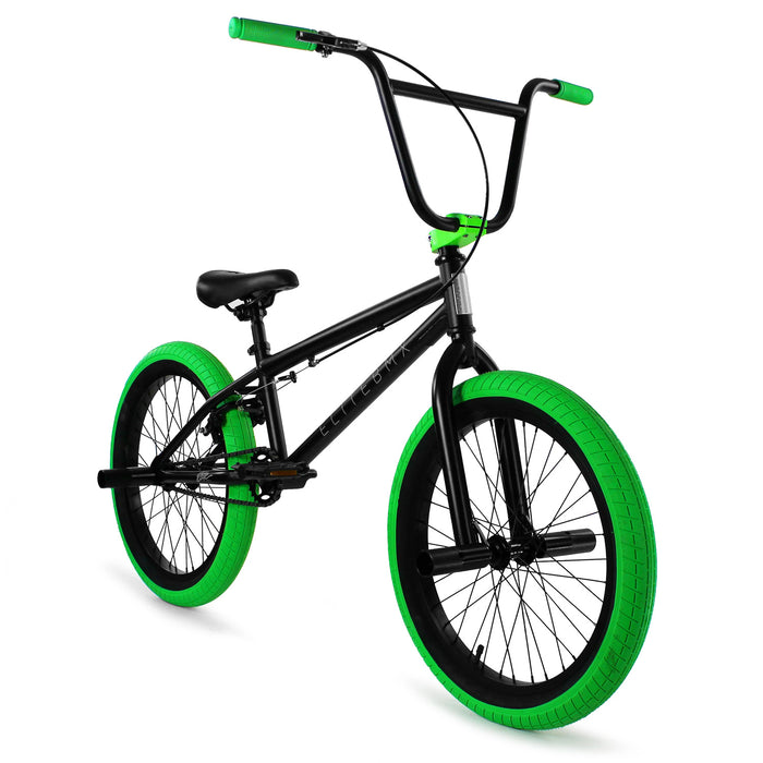 "Elite BMX Stealth 20""TT BMX Freestyle Bike-Black/Green"