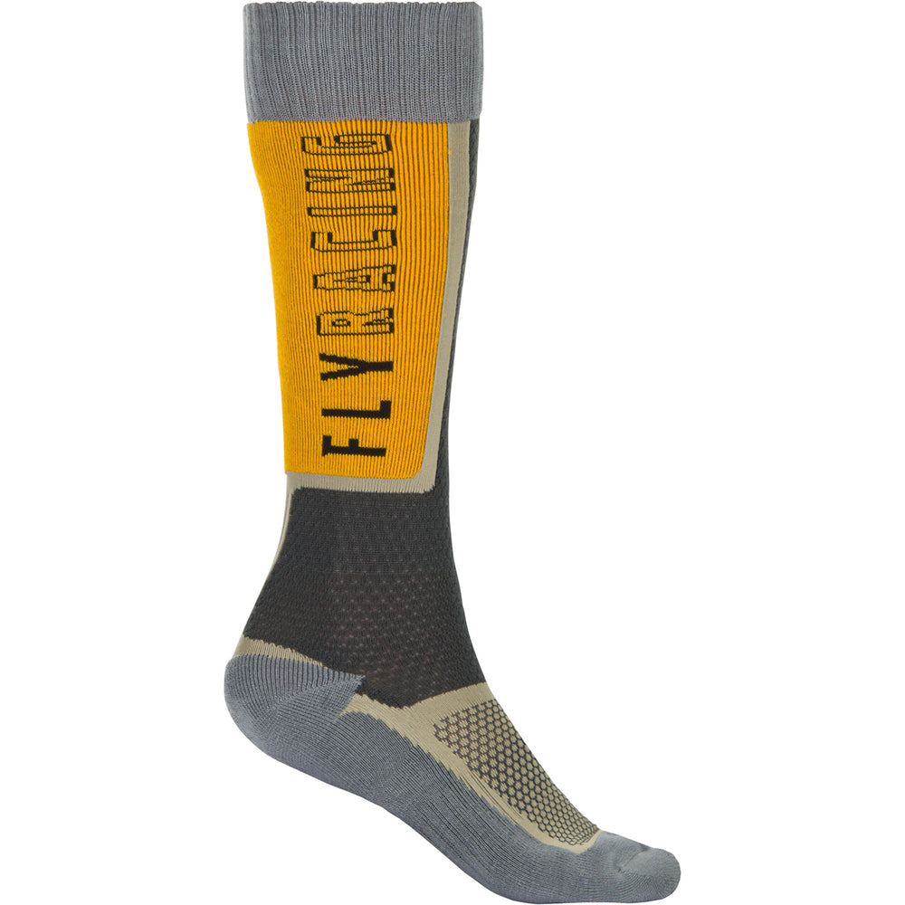 Fly Racing Thin MX Socks-Black/Grey/Mustard