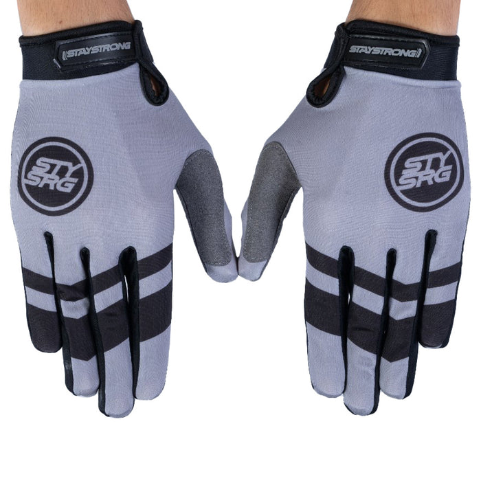 Stay Strong Chevron BMX Race Gloves-Grey