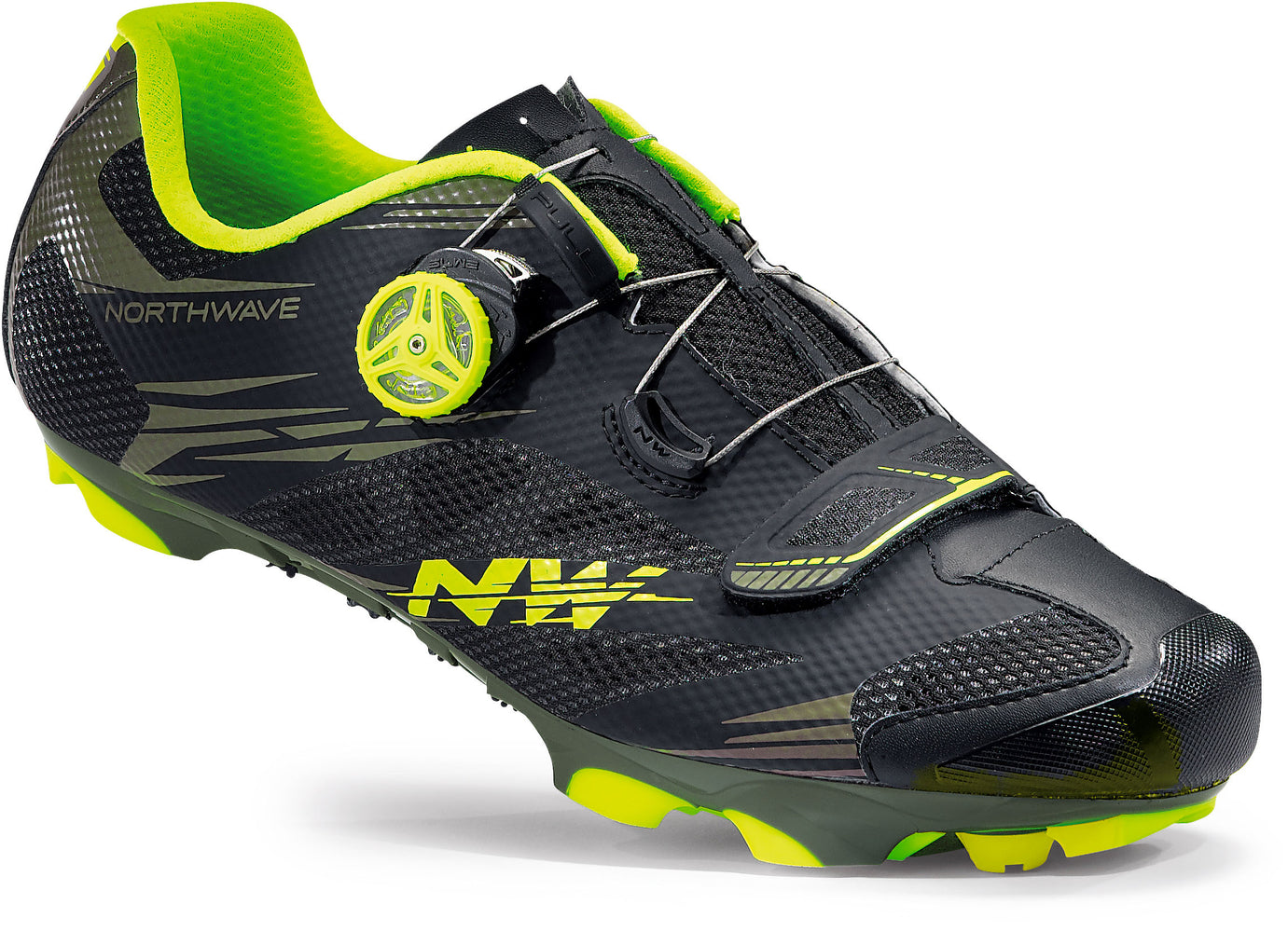Northwave Scorpius 2 Plus Clipless Shoes-Military Black/Flo Yellow