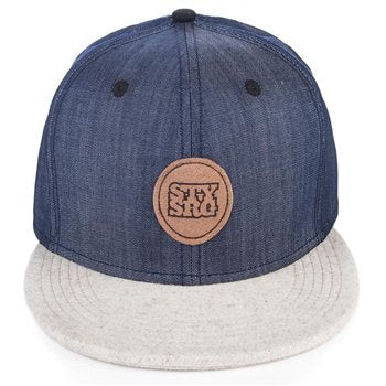 Stay Strong Snapback Hat-Denim/White