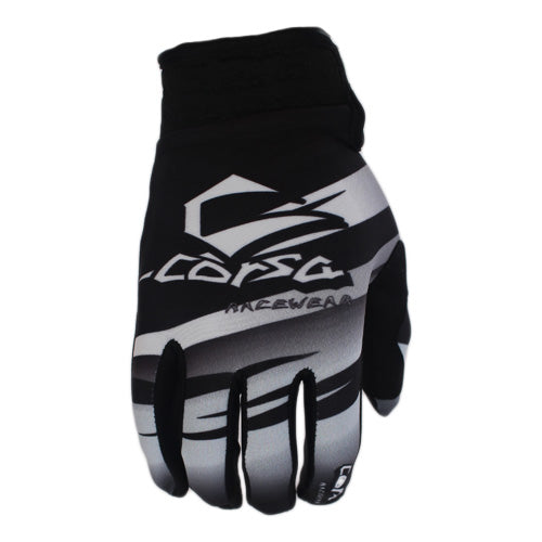 Corsa Warrior BMX Racing Gloves-White/Black