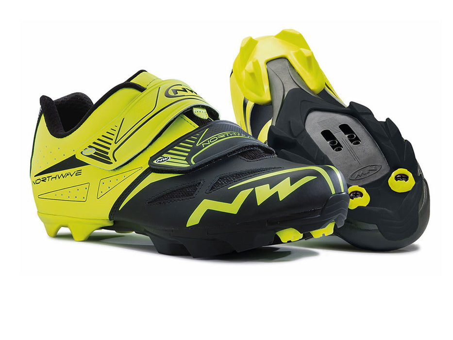 Northwave Spike Evo Clipless Shoes-Black/Fluorescent Yellow