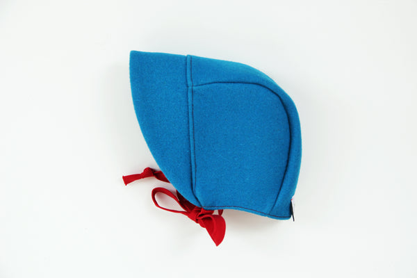 Brimmed Burel Bonnet Blue&Red 0-3m