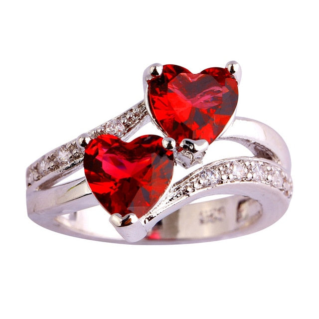 Double love heart ring sizes up to 13