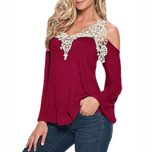 Load image into Gallery viewer, Lace off shoulder patchwork sexy v-neck long sleeve top