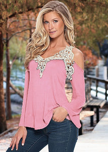 Lace off shoulder patchwork sexy v-neck long sleeve top