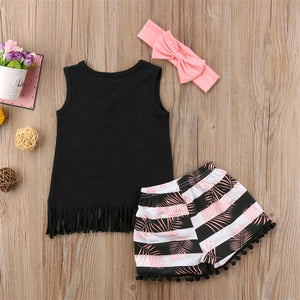 Long Live Summer Tank Shirt and Striped Shorts 3pc set