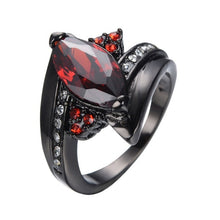 Load image into Gallery viewer, Classic Anillos Red Crystal Zircon Black Color Rings
