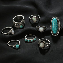 Load image into Gallery viewer, Tocona 8 Pcs Green Stone Silver Midi Finger Ring Set