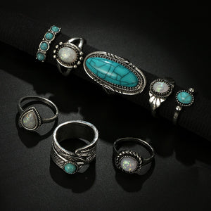 Tocona 8 Pcs Green Stone Silver Midi Finger Ring Set