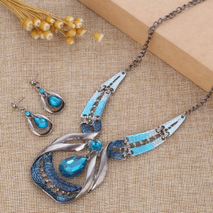 Blue Crystal Dangle Necklace sets