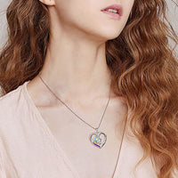 Life Is Beautiful Letter Unicorn Heart Pendant Necklace