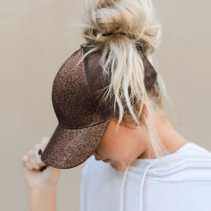 Bling Sequin Messy Bun Mesh Hats