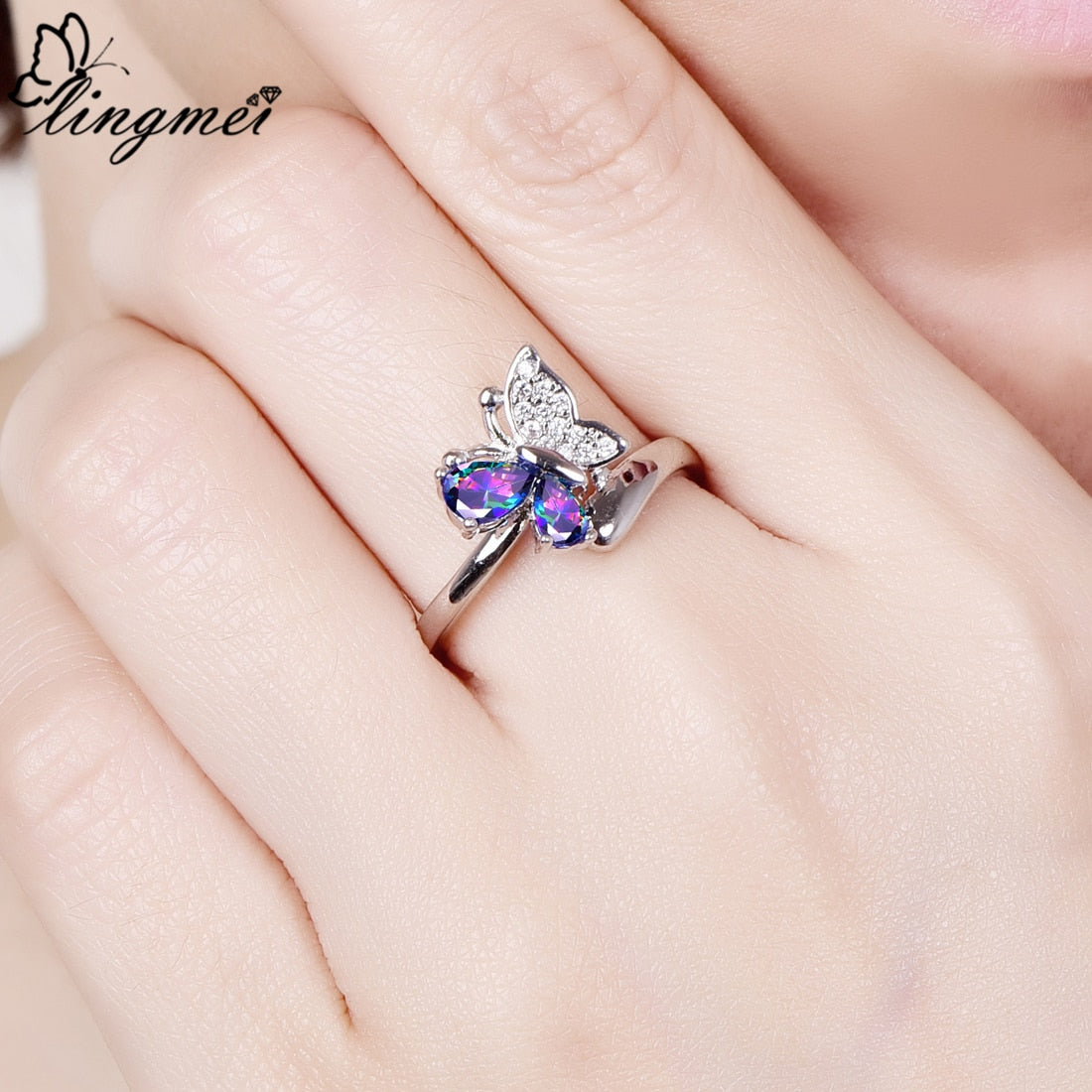 lingmei Butterfly Rainbow Cubic Zircon Silver Color Ring Size 6 7 8 9