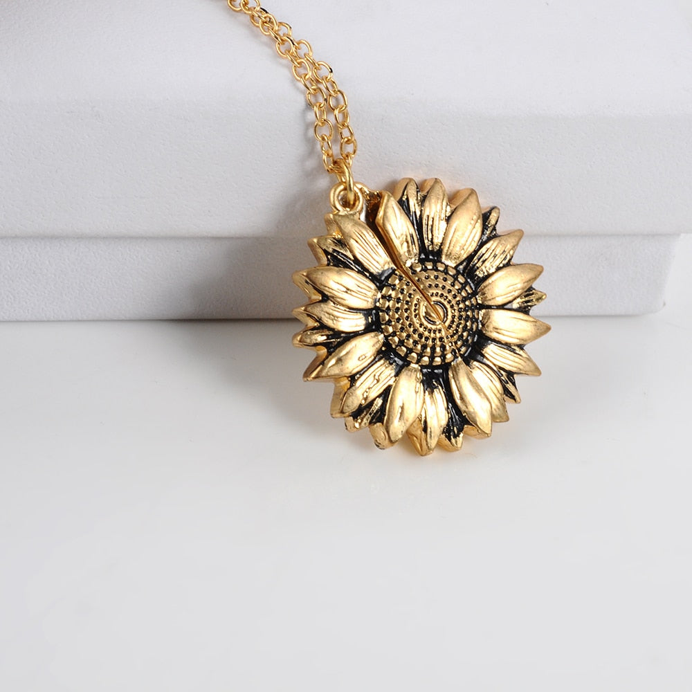Vintage Sunflower Locket  Pendant Necklace