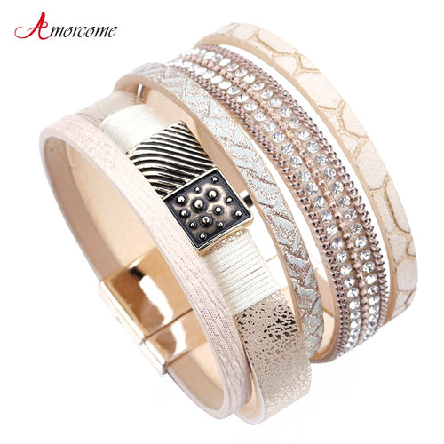 Amorcome Leather Rhinestone Crystal Metal Charm Multilayer Wide Bracelets