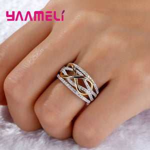 Luxury Solid 925 Sterling Silver Hollow-out Number 8 Infinity Love ring
