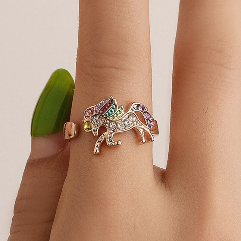 Fashion Cute Cartoon Unicorn Ring  Adjustable