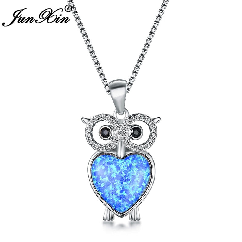 Boho Owl 925 Sterling Silver White Blue Fire Opal Necklaces