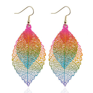 Colorful Leaf Drop Dangle Earrings