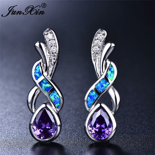 Boho  Zircon Stud Purple Blue White Fire Opal Earrings