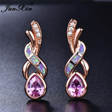 Load image into Gallery viewer, Boho  Zircon Stud Purple Blue White Fire Opal Earrings