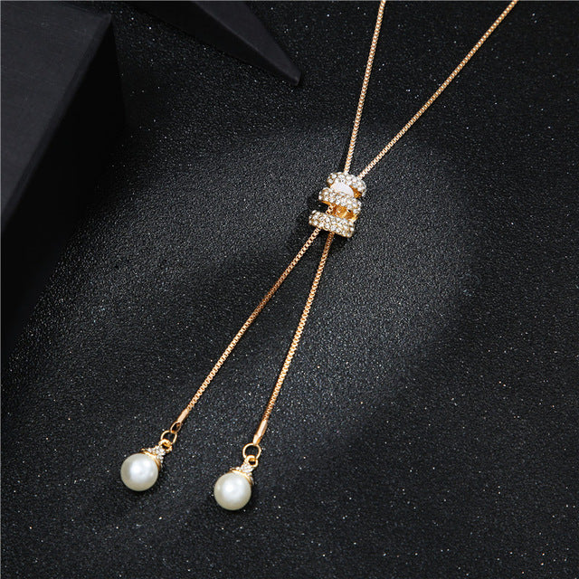 High Quality Fashion Metal Silver Long Tassel Rhinestone Crystal Pearl Necklace