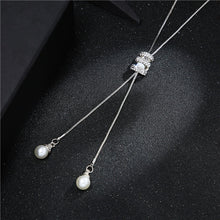 Load image into Gallery viewer, High Quality Fashion Metal Silver Long Tassel Rhinestone Crystal Pearl Necklace