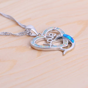 ROLILASON Stylish heart shape dolphin design white and blue fire opal silver Necklace