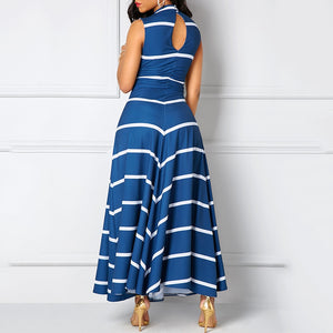 Women's V-neck Sleeveless High-waist Striped Long Swing Dress