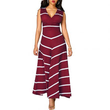 Load image into Gallery viewer, Women's V-neck Sleeveless High-waist Striped Long Swing Dress